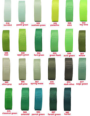 "10y 25mm 1"" Green Moss Emerald Shades Premium Grosgrain Ribbon Eco Gift"