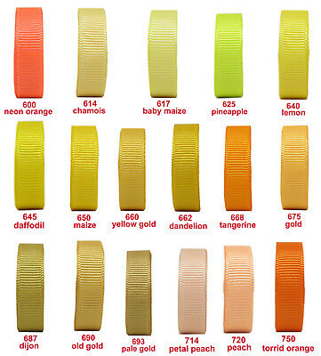 "10y 25mm 1"" Yellow Gold Peach Orange Shades Grosgrain Ribbon Eco Sewing"