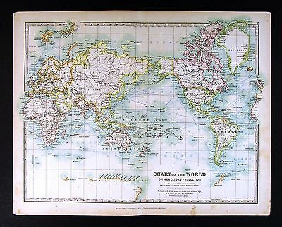 1906 Johnston Royal Atlas Map - World - Steamboat Routes & Ocean Currents