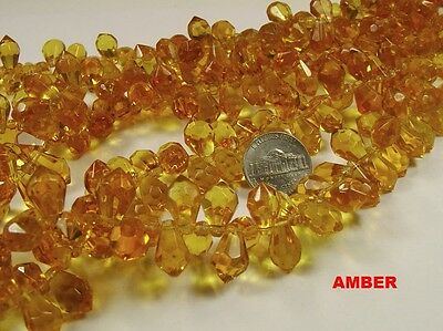 5 STRANDS 15MM X 9MM AMBER TEAR DROP FACETED GLASS BEADS LOT (NS205)