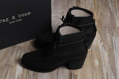 NIB Rag & Bone Piper Booties Boots Black 39.5 $495 Leather Lace Up