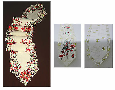 "Christmas Embroidered Table Runner Xmas 63"" Long New"