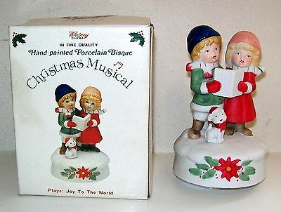 Whitney Porcelain Bisque Christmas Musical Music Box - Carolers