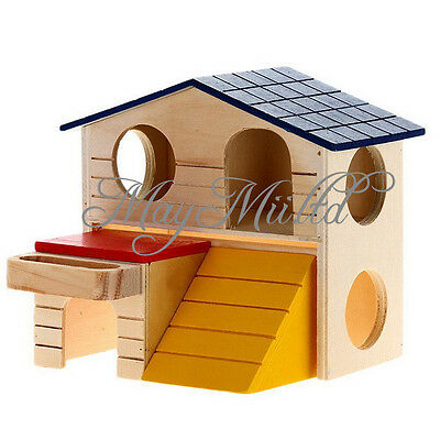 Wooden Bed House Cage Dual Layer Villa for Rat Hamster Mouse New S