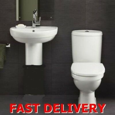 Cloakroom Suite Bathroom Toilet WC Sink Wall Pedestal Wash Basin white cistern