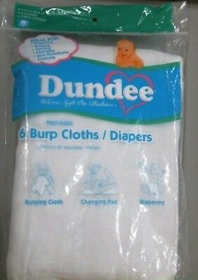 Dundee Burp Cloths/Diapers, White, 100% Cotton, 6 Per Package, New