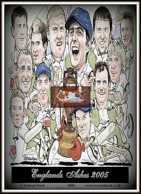 "ASHES 2005  ENGLAND TEAM CARTOON- Flexible Fridge Magnet Approx 5"" x 4"""