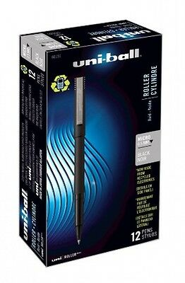 uni-ball Stick Micro Point Roller Ball Pens, 12 Black Ink Pens, 60151, New