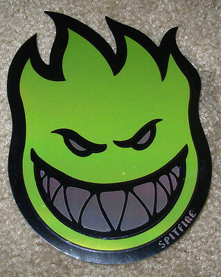 "SPITFIRE GREEN FOIL Logo Skate Sticker 4.5 X 6"" skateboards helmets decal"