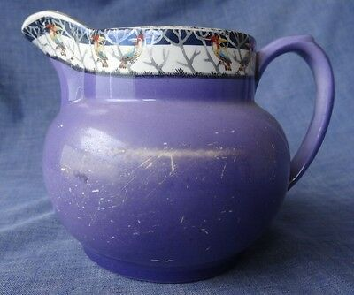 Vintage Porcelain Jug, Art Deco, Purple with Birds, S Ltd, Made in Engand