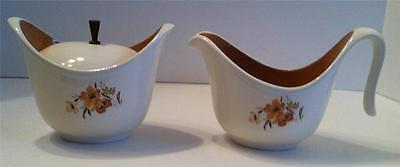 Mid Century Taylor Smith & Taylor Ever Yours Wood Rose Pattern Creamer & Sugar