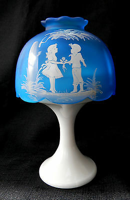 Westmoreland Blue Mist Mary Gregory Candle Light with Base Vintage