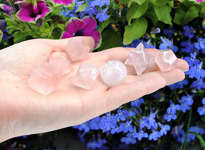 634 ~ 7 Pcs Rose Quartz Platonic Solids Sacred Geometry Set Merkaba Star