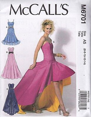 McCall's Sewing Pattern Misses' Prom Evening Dresses Flared Size 6 - 22 M6701