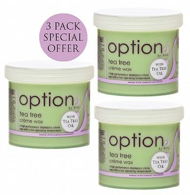 3 x THE HIVE OF BEAUTY TEA TREE CREME DEPILATORY WAX 425g hair removal