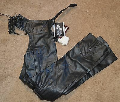 New Silver Bike Black Leather Motorcycle Biker Chaps Size XS $119.50