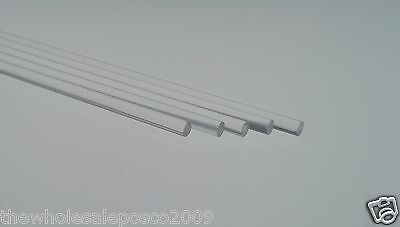 "PLASTIC CAKE DOWEL ROD 12"" LONG HIGH QUALITY FOOD SAFE PERSPEX 8 x CLEAR ACRYLIC"