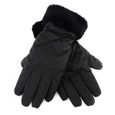 Ladies' Black Quilted Padded Warm Winter Gloves Fleece Lining & Faux Fur Cuffs