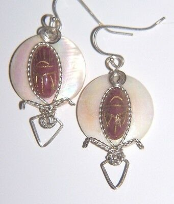 EGYPTIAN SCARAB Earrings & Mother of Pearl Wrapped Choice of colors