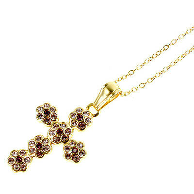 Gold Filled 18k Necklace PENDANT Flower Crystal Pink Purple Cross Crucifix Charm