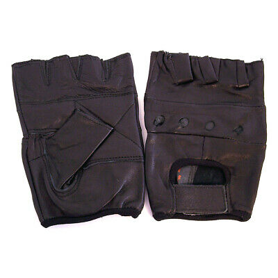 1 Pair Black Fingerless Leather Gloves Cycling Workout Training Size XXL