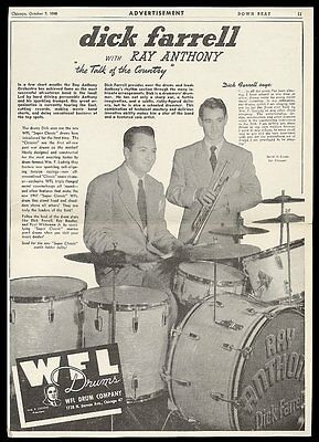 1946 Ray Anthony Dick Farrell photo WFL Ludwig drum set vintage print ad