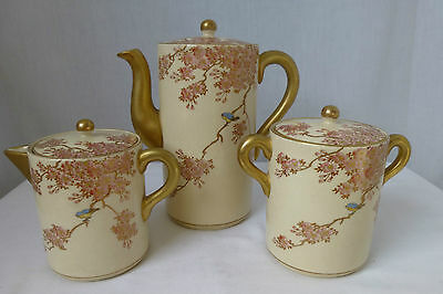 Vintage,c1920.Japan,Koshida Satsuma,3 Pce Coffee Set, Cherry Blossom,Bluebirds
