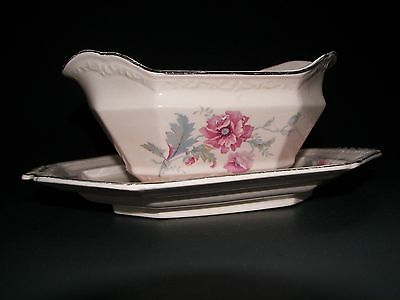 Vintage Edwin M. Knowles China Pink Alice Annglow Gravy Boat