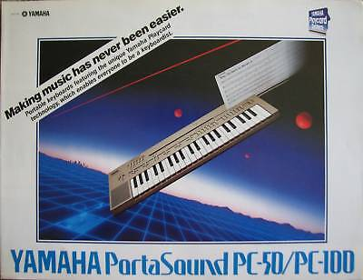 Yamaha Color Brochure for the PC-50 and PC-100 Playcard Keyboards, Original