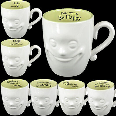 3D Smiling Face Mug Tea Coffee Gift Set Novelty Fine China Ceramic Mugs New Xmas