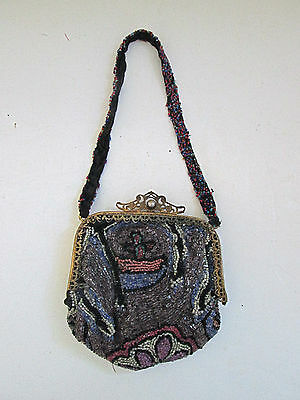 Antique 20's 30's fully beaded ornate art deco small evening bag filigree clasp