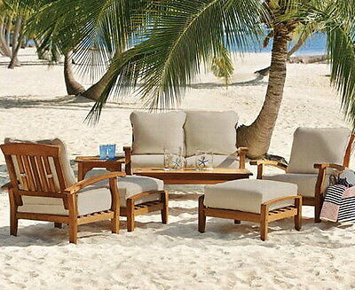 New 7 Piece Teak Wood Outdoor Patio Seating Set Garden Furniture Thick Cushions