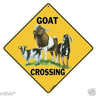 "Goat Metal Crossing Sign 16 1/2"" x 16 1/2"" Diamond shape made in USA #195"
