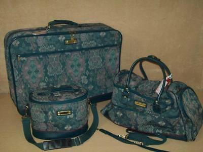 Vintage American Tourister~Luggage~3 Pc Matching Set~Tapestry~Wheels~Roller