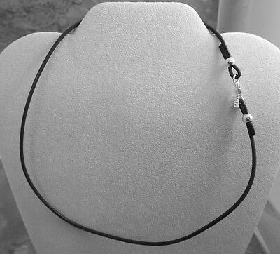 Black Leather and Sterling Silver Necklace - Sterling Silver Findings and Clasp