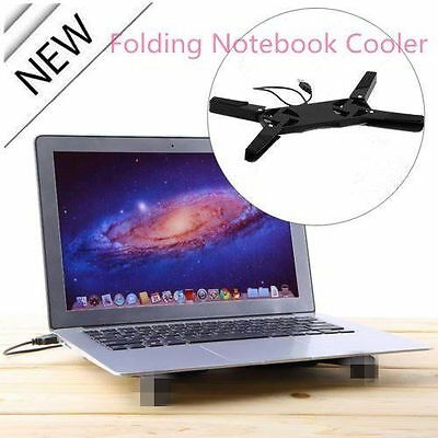 NEW Black USB Folding 2 Fan Laptop Notebook Cooling Cooler Pad