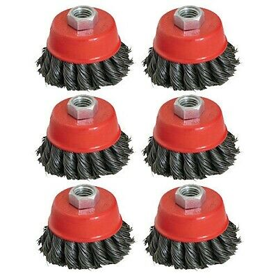 """6 x 100mm 4"""" TWIST KNOT WIRE CUP BRUSH SET KIT FOR 115MM ANGLE GRINDER"""