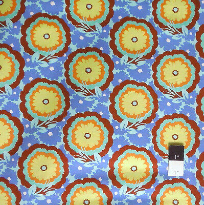 Amy Butler AB62 Soul Blossoms Buttercups Cyan Fabric By Yard
