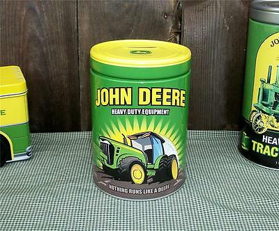 "John Deere Tractor 6"" Tin Metal Round Kids Saving Bank-Officially Licensed-1"