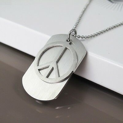 Silver Metal Army Military Dog Tag Peace Pendant Mens Womens Ball Chain Necklace