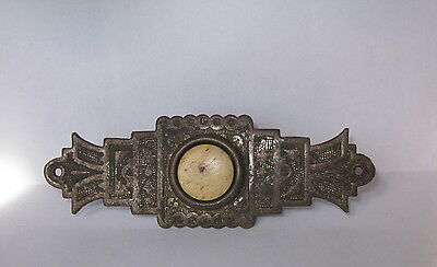 ANTIQUE ART NOUVEAU ORNATE SILVER PLATED BRASS with HORN BUTTON DOOR BELL