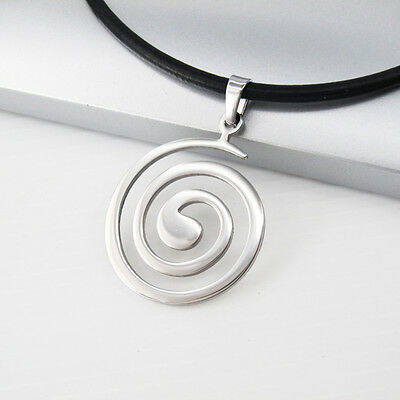 """Silver Stainless Steel Round Spiral Pendant 18"""" Black Leather Necklace Cord NEW"""
