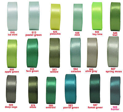 """BUY 4 GET 1 FREE 10y 25mm 1"""" Green Shade Premium Double Sided Satin Ribbon Eco"""