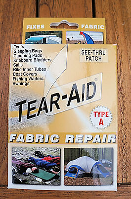 TEAR AID TENT REPAIR PATCH KIT - Annex, Swag, Roof, Awning, Tent, Pack, Sail