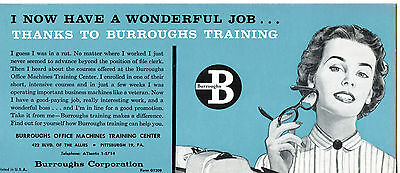 Burroughs Corp Office Machine Job Training Course-Vintage Advertising Blotter