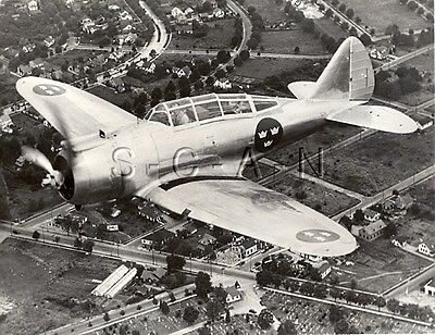 WWII US Large Press Photo- Sweden- Swedish Dive Bomber- Seversky P-35 Airplane