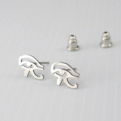 Silver Stainless Steel Udjat Egypt Eye Of Horus Ra Egyptian Earrings Jewellery