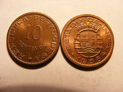 India-portuguese 10 Centavos, 1958, Uncirculated with Luster