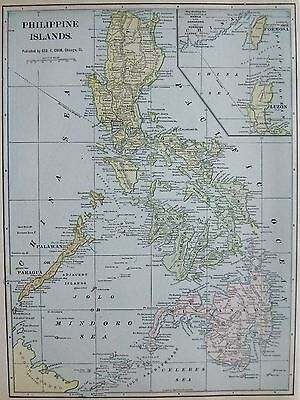 1902 Antique PHILIPPINES Map  Beautiful VINTAGE Philippine Islands Map
