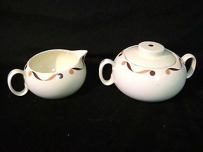 Vintage Cavitt Shaw Brown Ribbon Cream & Sugar Set by W.S. George